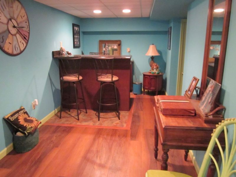 The bar area in the finished basement.