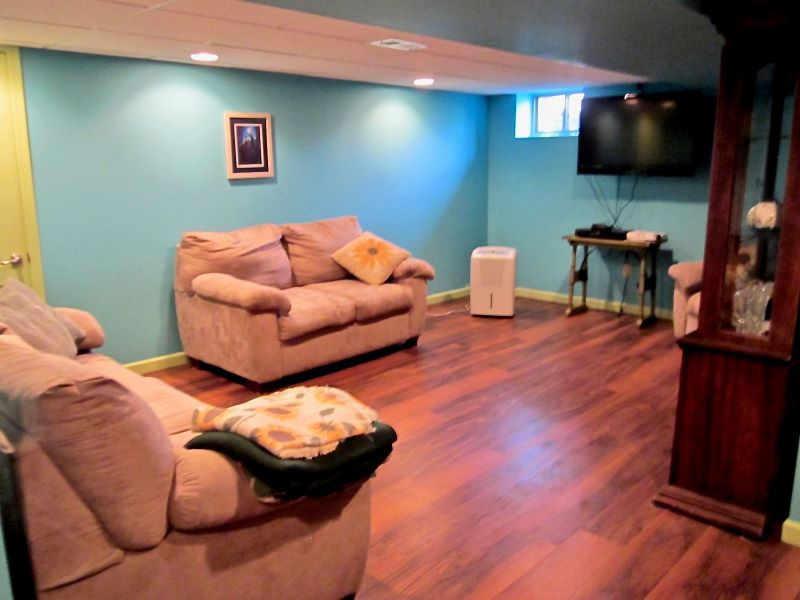 The finished basement.